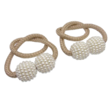 Deals For Less -2 Pieces Magnetic Curtain Holder ,Gold With Pearl Design.