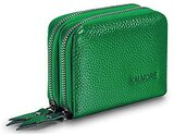 Kalmore Women Petite Leather Rfid Secured Spacious Cute Zipper Card Wallet Small Purse, Green, One Size