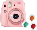 Fujifilm Instax Mini 9 Instant Camera, with 60mm f/12.7 Lens, with Clear Accents, Pink