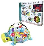 Activity Mat 3 in 1 Baby Play Gym & Ball Pit with Removable Toys Bars & Walls, Infant Marine Ball Pool, 4-Piece Hanging Toys & 30-Piece Ball Pit Sea Turtle.