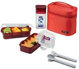 Lock & Lock Lunch Box 6Pc-Set - 1Pc Red Bag, 2Pcs 470Ml Food Container, 1Pc 300Ml Bottle, 1Pc Spoon, 1Pc Fork