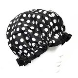 Wrapables Trendy Satin Shower Cap, Black And White Dots