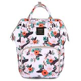 Floral Diaper Bag Backpack, Women Waterproof Travel Nappy Bags for Baby Girl