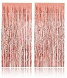 Brain Giggles 2 Pcs Rose Gold Foil Curtains