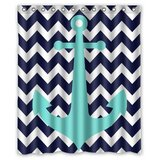 FmsHPon Navy Blue Chevron With Nautical Anchor Waterproof Polyester Fabric Shower Curtain 60 X 72 Inches