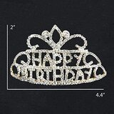 "Brain Giggles ""Happy Birthday"" Silver Glittering Stone Studded Tiara"