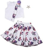 ADORABLE SLEEVELESS PATTERN BLOUSE AND SKIRT FOR GIRLS PARTY DRESS (6 YEARS)