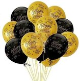Brain Giggles Happy Birthday Balloons Pack Of 10 Black And Golden