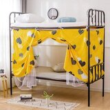 DEALS FOR LESS - Bed Curtain, for Dormitory, Lower Deck Single Bed, Privacy Bed Tent with Mosquito Net, Yellow Heart Design