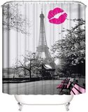DEALS FOR LESS - Shower Curtain With 12 Hooks , Paris Design