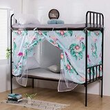 DEALS FOR LESS - Lower Deck Single Bed, Privacy Bed Tent with Mosquito Net, Flamingo Design