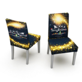 DEALS FOR LESS -2 Pieces Christmas Chair Covers,  Santa  with Reindeer Design.