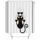 DEALS FOR LESS - Water Proof Shower Curtain, Black Cat Design