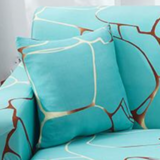 DEALS FOR LESS - Stretchable Cushion Cover 45x45cm For Sofa, Bedroom, Car Seat cushion, kids room, Blue Marble  design.