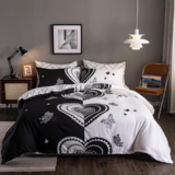 Deals For Less  - King Size, Duvet Cover , Bedding Set Of 6 Pieces, Black And White Heart  Design