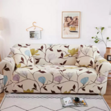 DEALS FOR LESS - 2 Seater Sofa Cover, Love Seat Stretchable Couch Slipcover,  Beige with Floral Design.