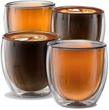 Double Wall Insulated Glass Espresso Cups Set Of 4, Glasses For Coffee, Latte, Lungo, Or Americano, Milano Collection Am-01, 8.5 Ounce