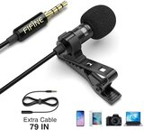 Lavalier Lapel Microphone for iPhone, Android & DSLR Camera - Black