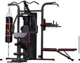 Marshal Fitness 3 Station Home Gym Multi Station With Boxing Bag,Pull Up Station And Eercise Bench With72 Kgs Weight Stack-Mf-9945-2B