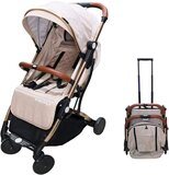 Tianrui Portable Stroller for traveling, easy folding type can use in airline cabinet, gold