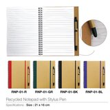 SS Eco Friendly Recycled Notepad with Stylus Pen  - Brown