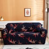 DEALS FOR LESS - 3 Seater Sofa Cover, Stretchable Couch Slipcover, Red Leaves Printed Design.