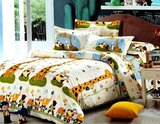 Brain Giggles 100% Cotton Giraffe Theme Double Bed sheet and Pillow Case - Multi Color