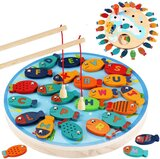 Brain Giggles Magnetic Wooden Fishing Game Toy for Toddlers