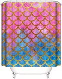 DEALS FOR LESS - Shower Curtain With 12 Hooks-Mermaid Design