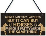 Woodensign Money Can't Buy Happeness But It Can Buy Horses Wood Signs for Wall Decor Animal Plaques 12 x 6 Inches(801D1040)
