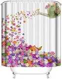 Deals For Less - Shower Curtain With 12 Hooks , Floral Design