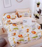 Brain Giggles 100% Cotton Animal Cartoon Printed Double Bed sheet and Pillow Case - Multi Color