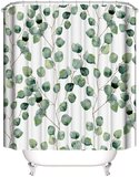 DEALS FOR LESS - Shower Curtain With 12 Hooks , Leaves Design