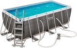 Bestway 56722 Power Steel Rectangular Outground Pool 412 x 201 x 122 cm Safety Ladder and Chemconnect Chemical Dispenser Grey