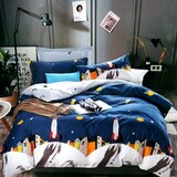Brain Giggles 100% Cotton Space Theme Double Bed sheet and Pillow Case - Multi Color