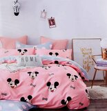 Brain Giggles 100% Cotton Mickey Mouse Cartoon Printed Double Bed sheet and Pillow Case - Multi Color