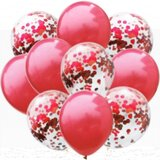 Brain Giggles 18 Pcs Red Confetti And Metallic Balloons Combo