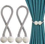 DEALS FOR LESS -2 pieces Magnetic Curtain Holder ,Silver with Pearl Design.