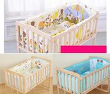 LTJ 5Pcs Cartoon Animated Crib Bed Bumper 100% Cotton Comfortable Children's Bed Protector Baby Washable Set