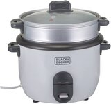 BLACK+DECKER 700W 1.8L 2-in-1 Non-Stick Rice Cooker with Steamer, White - RC1860-B5 (2 Years Warranty)