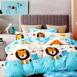 Brain Giggles 100% Cotton Lion Cartoon Printed Double Bed sheet and Pillow Case - Multi Color