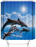 Deals For Less - Shower Curtain With 12 Hooks , Dolphins Design