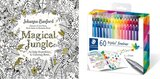 Staedtler triplus fineliner triangular set of 60 brilliant colors,  Magical Jungle w/ Coloring Book for Adults