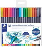 Staedtler STAEDTLER 3001 TB18 Double Ended Watercolour Brush Pens, Assorted Colour pack of 18 3001 TB18