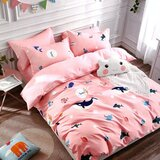 Brain Giggles 100% Cotton Whale Shark Cartoon Printed Double Bed sheet and Pillow Case - Multi Color