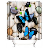 DEALS FOR LESS - Water Proof Shower Curtain, Blue Butterfly Design