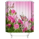 Deals For Less - Shower Curtain With 12 Hooks , Pink Butterfly  Design
