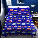 Brain Giggles 100% Cotton Car Theme Cartoon Printed Double Bed sheet and Pillow Case - Multi Color