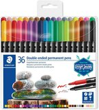 Staedtler STAEDTLER 3187 TB18 Double Ended Permanent Pens, Assorted Colour pack of 36