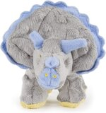 goDog Dinos Frills with Chew Guard Technology Durable Plush Squeaker Dog Toy, Gray, Small